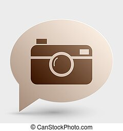 Digital photo camera sign Brown gradient icon on bubble with...