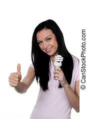 Woman with energy-saving lamp. Energy saving lamp for