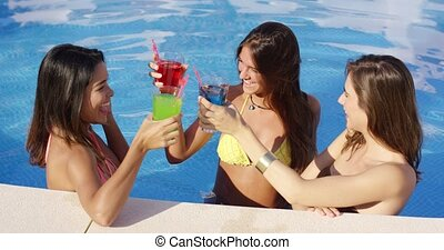 Three happy female friends celebrating - Three happy female...