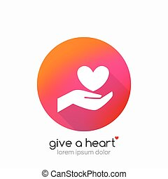 Hands holding heart symbol, abstract gradient, flat shadow -...