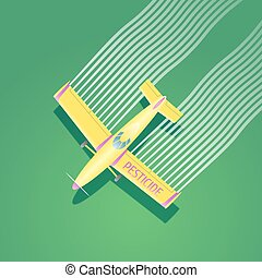 Crop duster plane vector illustration. Aerial view of flying...