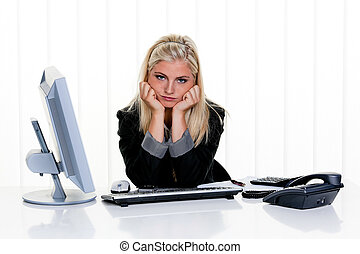 Women with stress in the office - Young woman with problems...