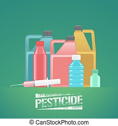Set of bottles with chemicals for gardening, agriculture...