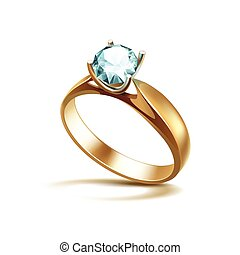 Gold Engagement Ring with Light Turquoise Shiny Clear...