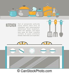 Kitchen Interior, pans on the stove, cooking. Vector...