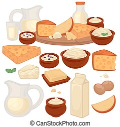 Set of healthy dairy products: milk, cottage cheese, butter,...