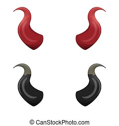 vector Red and black devil horns isolated