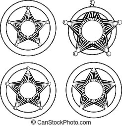 five pointed sheriffs star in circle set - Vector...