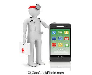 service, téléphone,  image, isolé, fond, blanc,  3D