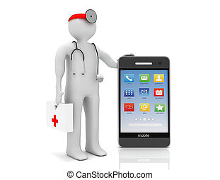phone service on white background. Isolated 3D image