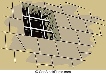Stock illustration. Jail. Lattice in window prison.
