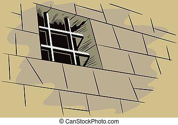 Stock illustration. Jail. Lattice in window prison.