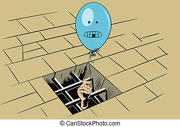 Stock illustration. Jail. Lattice in window prison. Hand...