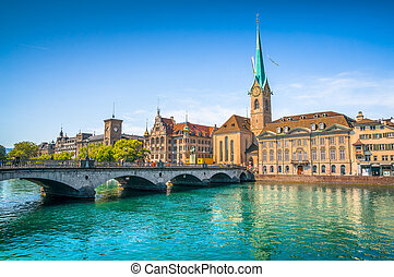 Zurich city center with historic bridge and river Limmat,...