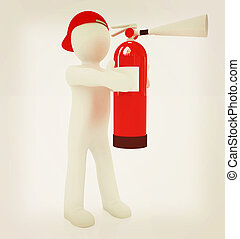 3d man with red fire extinguisher . 3D illustration. Vintage...