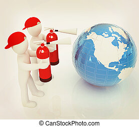 3d mans with red fire extinguisher extinguish earth . 3D...