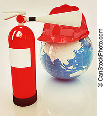 Red fire extinguisher and hardhat on earth. 3D illustration....