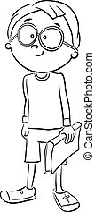 boy with book for coloring - Black and White Cartoon...