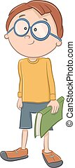 boy character with book - Cartoon Illustration of Elementary...
