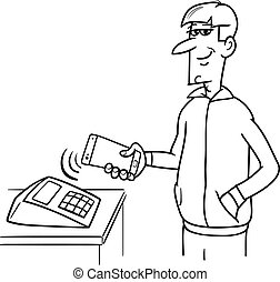 man paying with smart phone - Black and White Cartoon...