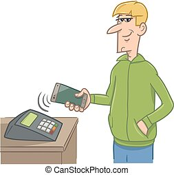 man paying with smart phone - Cartoon Illustration of Man...