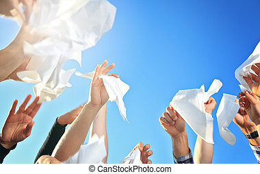 Handkerchief on the Sky - Lot of hand holding Handkerchief...