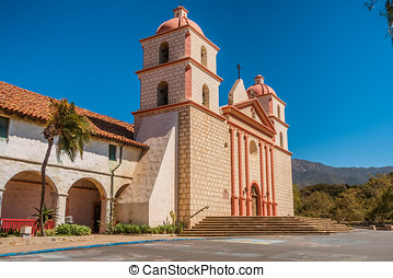 The historic Santa Barbara Spanish Mission in California,...