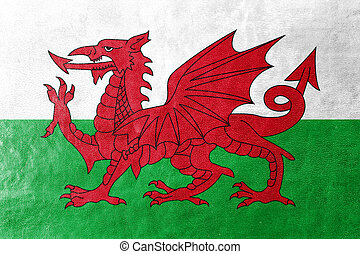 Flag of Wales, UK, painted on leather texture