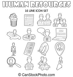 Human resources icons set, outline style