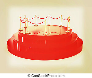 3D glossy podium with gold handrail . 3D illustration....
