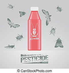 Pest insects bottle with chemical poison vector illustration...