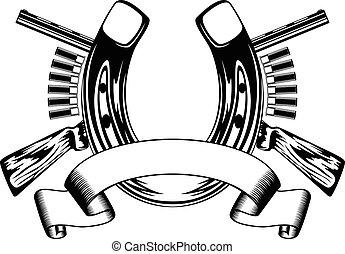 horseshoe and crossed rifles - Vector illustration horseshoe...