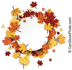 Autumn round background with maple leaves - Autumn round...