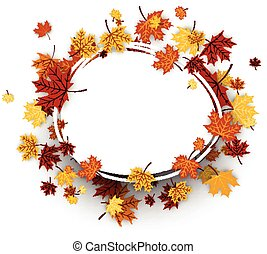 Autumn oval background with maple leaves - Autumn oval...