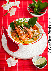 Tom yum soup - Tom Yum soup- Traditional Thai spicy soup...