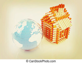 Log house from matches pattern and Earth. 3D illustration. Vintage style.