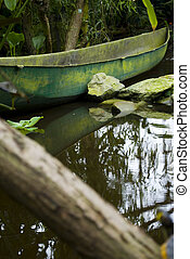 Old canoe laying in the jungle with reflection on the water