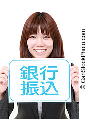 businesswoman holding a message board with the phrase bank...