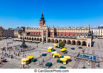 Cracow, Poland Old town market square and Cloth Hall -...