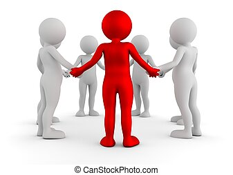 Toon men holding hands in a circle. Support group, teamwork,...