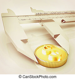 Vernier calipers with coin 3D illustration Vintage style -...