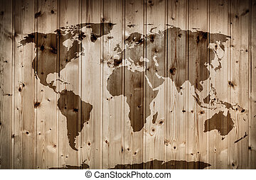World map on wooden wall. Vintage - World map on wooden...
