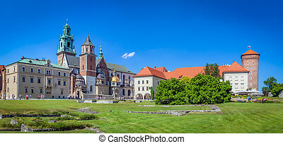 Wawel, royal castle and cathedral in Cracow, Poland Panorama...