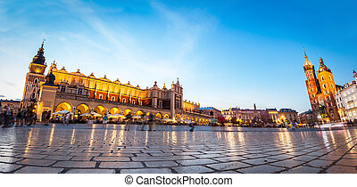 Panorama of the main old town market of Cracow. View to the...
