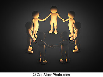 Toon men holding hands in a circle. Light shining....