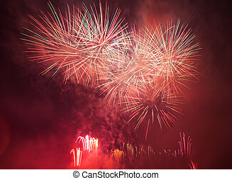 Spectacular fireworks show light up the sky New year...