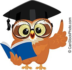 Owl holding Book in Graduation - Vector Illustration of an...
