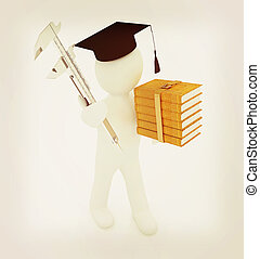 3d man in graduation hat with the best technical educational...