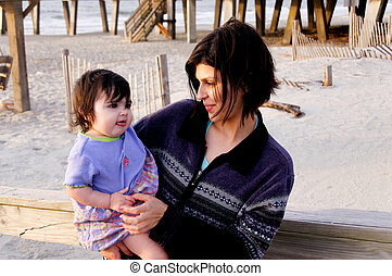 Mother and Baby at the Ocean
