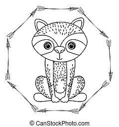 animal drawing style boho icon vector illustration graphic